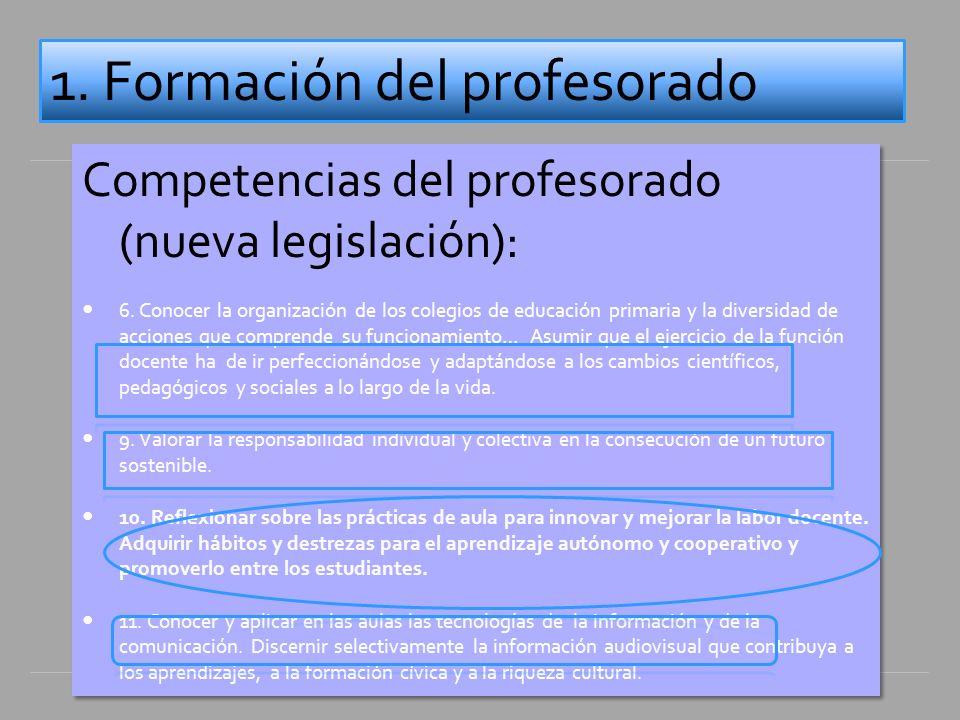 Competencias del profesorado (nueva legislación): 6.