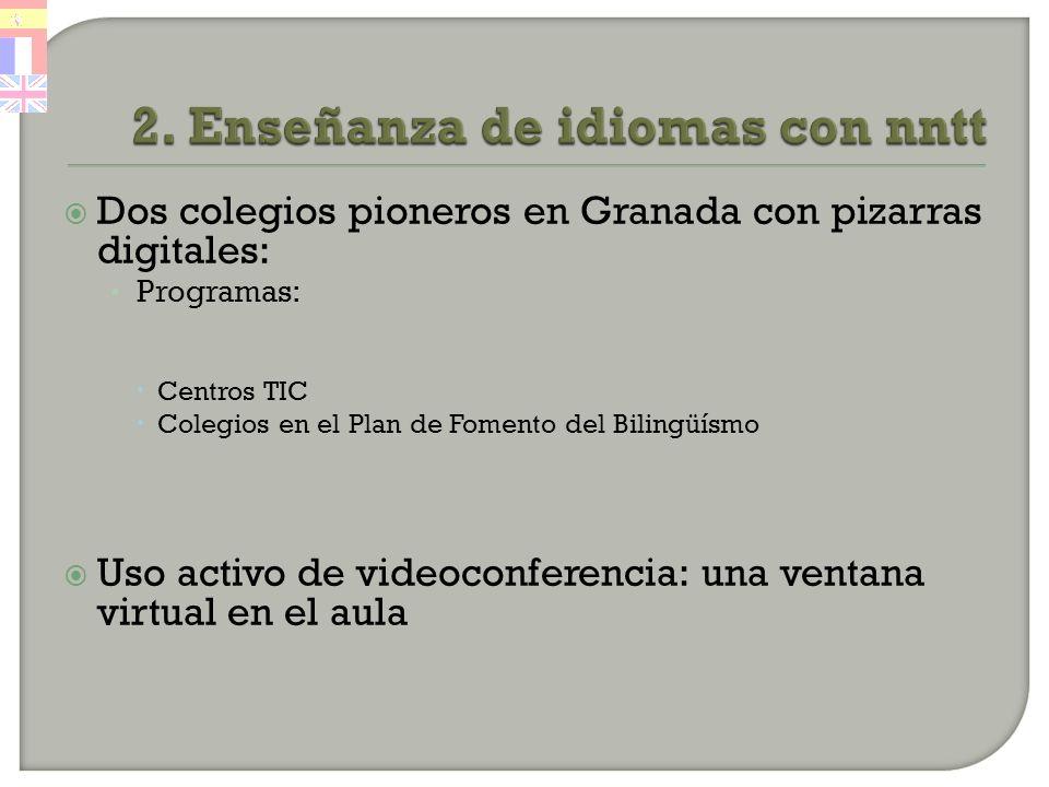 Dos colegios pioneros en Granada con pizarras digitales: Programas: Centros TIC Colegios en el Plan de Fomento del Bilingüísmo Uso activo de videoconferencia: una ventana virtual en el aula