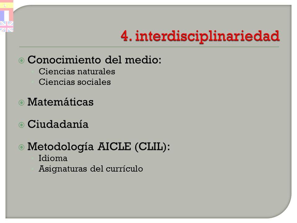 Conocimiento del medio: Ciencias naturales Ciencias sociales Matemáticas Ciudadanía Metodología AICLE (CLIL): Idioma Asignaturas del currículo