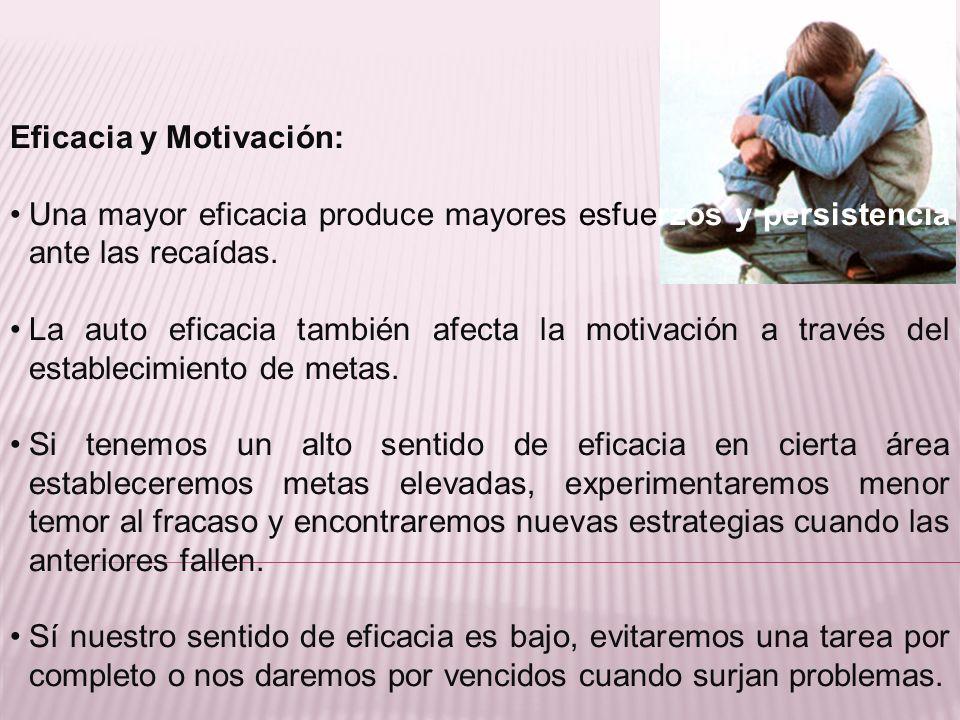 Eficacia y Motivación: Una mayor eficacia produce mayores esfuerzos y persistencia ante las recaídas. La auto eficacia también afecta la motivación a