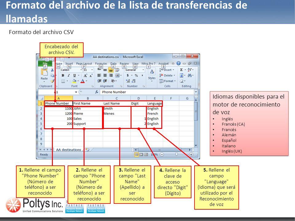 Formato del archivo CSV Formato del archivo de la lista de transferencias de llamadas Encabezado del archivo CSV. 1. Rellene el campo