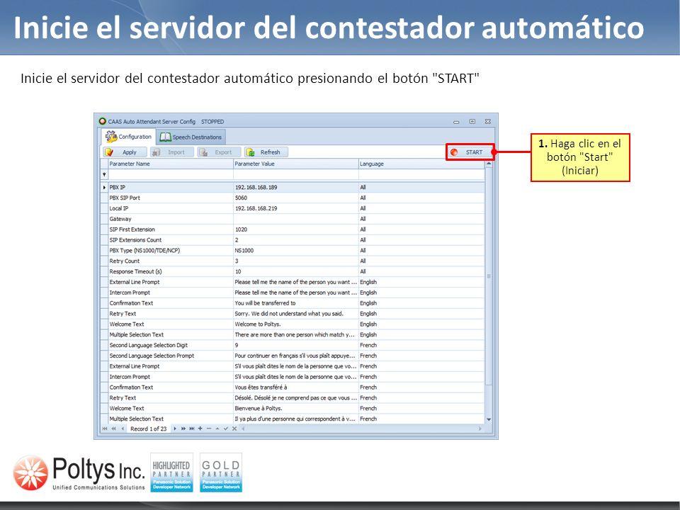 Inicie el servidor del contestador automático 1. Haga clic en el botón