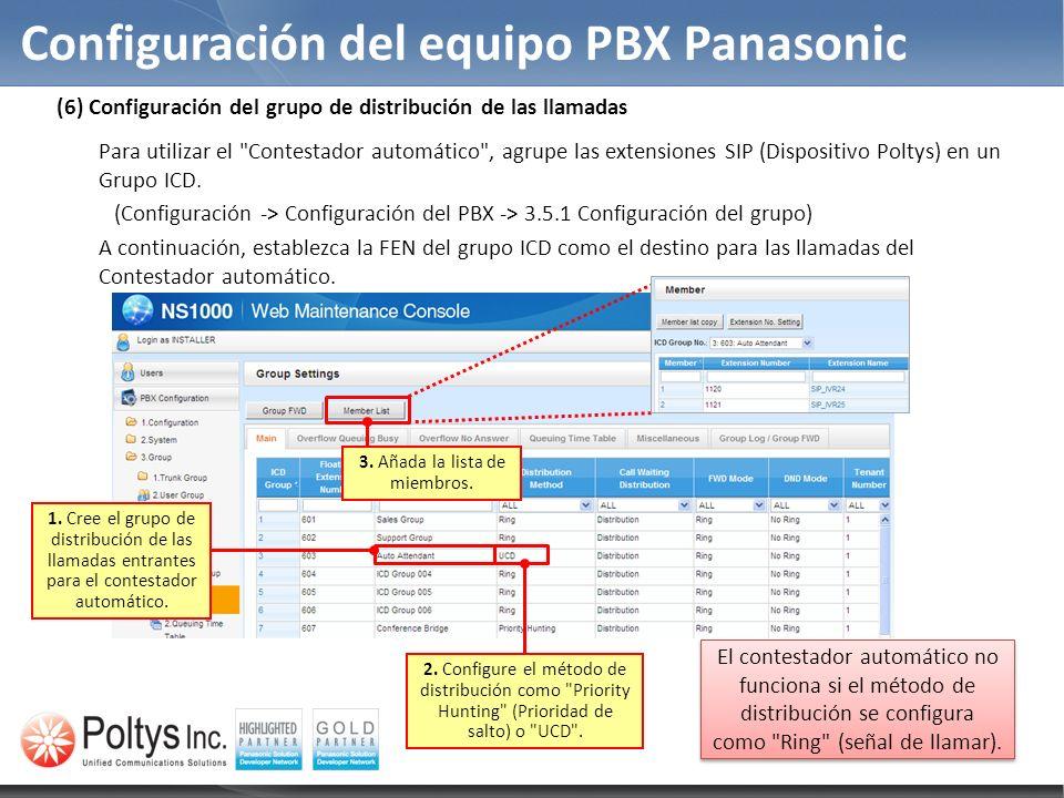Configuración del equipo PBX Panasonic 1. Cree el grupo de distribución de las llamadas entrantes para el contestador automático. 2. Configure el méto