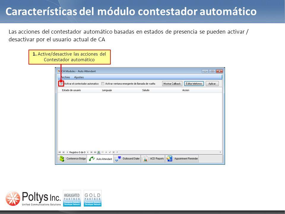 Características del módulo contestador automático Las acciones del contestador automático basadas en estados de presencia se pueden activar / desactiv