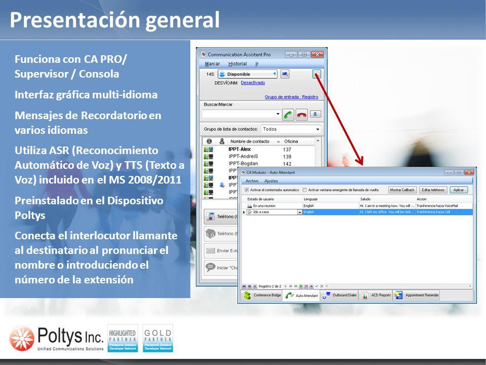 Presentación general TDE, NCP and NS1000 series PBX Funciona con CA PRO/ Supervisor / Consola Interfaz gráfica multi-idioma Mensajes de Recordatorio e