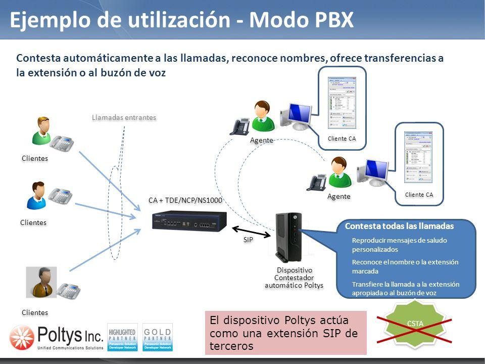 Ejemplo de utilización - Modo PBX Contesta todas las llamadas Reproducir mensajes de saludo personalizados Reconoce el nombre o la extensión marcada T