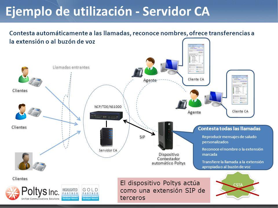 Características del módulo contestador automático Las acciones del contestador automático basadas en estados de presencia se pueden activar / desactivar por el usuario actual de CA 1.