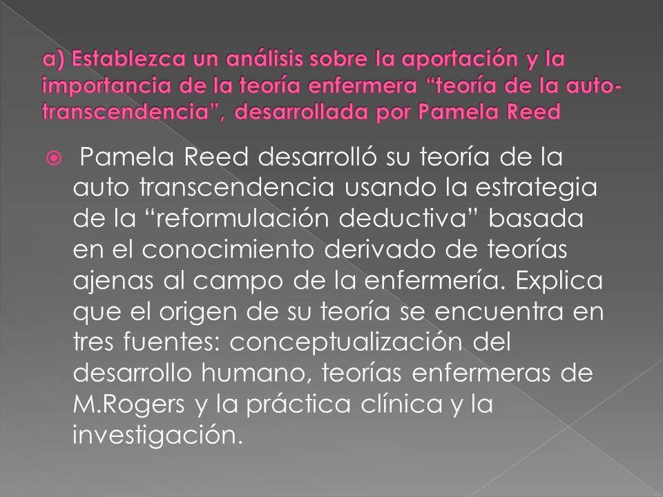 Pamela Reed desarrolló su teoría de la auto transcendencia usando la estrategia de la reformulación deductiva basada en el conocimiento derivado de te