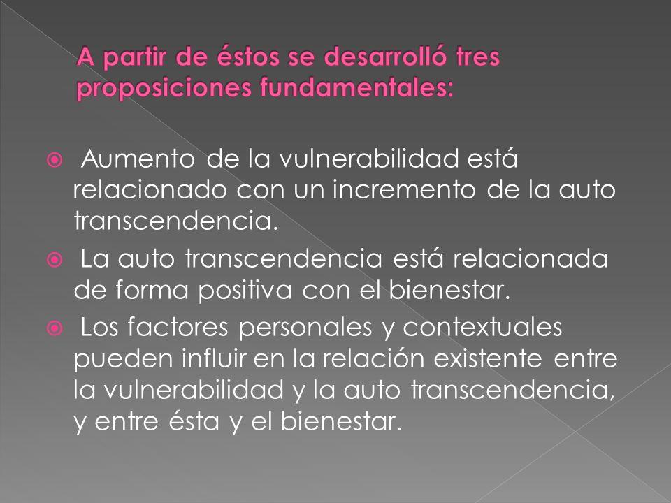 Aumento de la vulnerabilidad está relacionado con un incremento de la auto transcendencia. La auto transcendencia está relacionada de forma positiva c