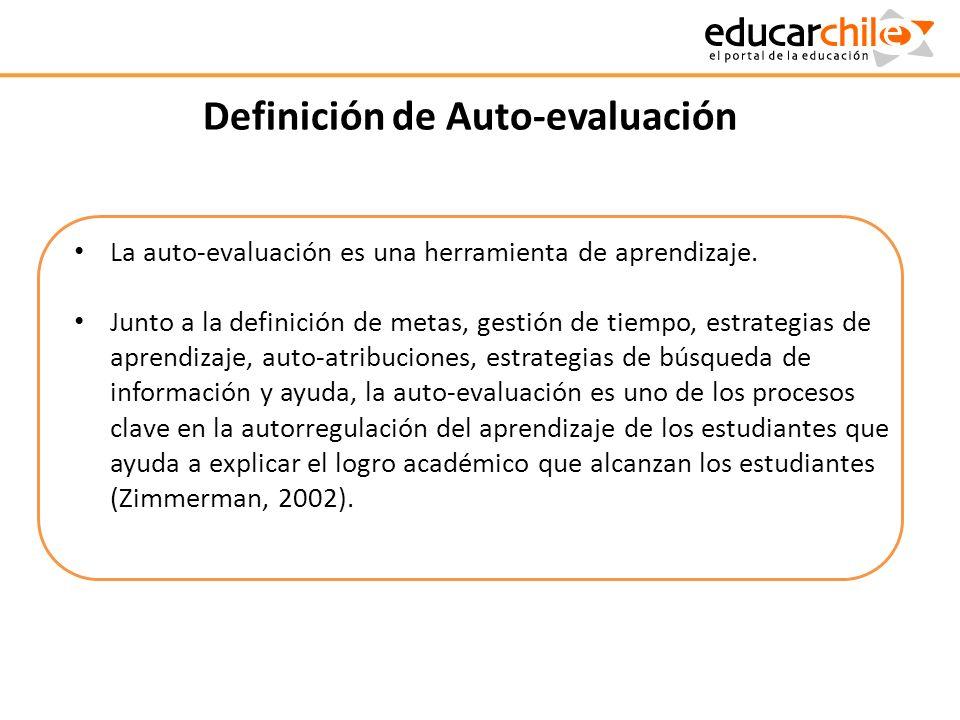 Definición de Auto-evaluación La auto-evaluación es una herramienta de aprendizaje. Junto a la definición de metas, gestión de tiempo, estrategias de