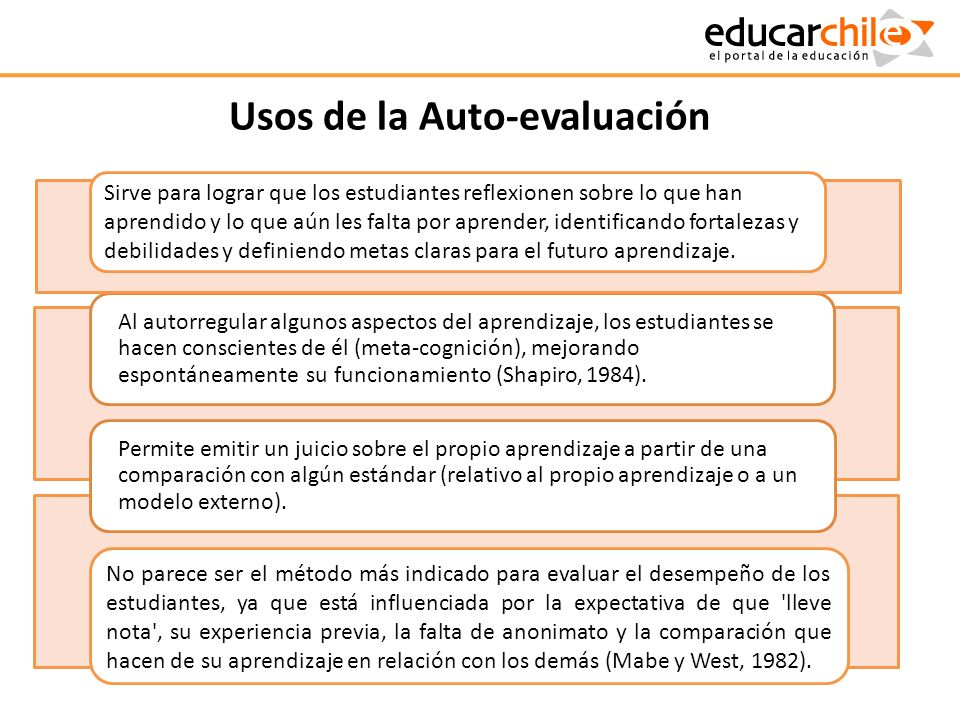 Usos de la Auto-evaluación Al autorregular algunos aspectos del aprendizaje, los estudiantes se hacen conscientes de él (meta-cognición), mejorando es