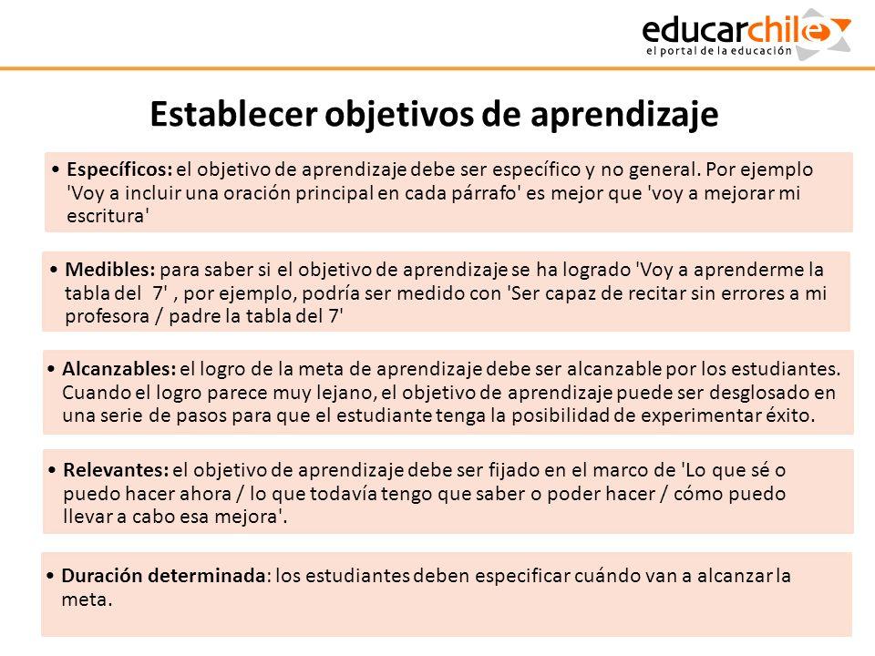 Establecer objetivos de aprendizaje Específicos: el objetivo de aprendizaje debe ser específico y no general. Por ejemplo 'Voy a incluir una oración p