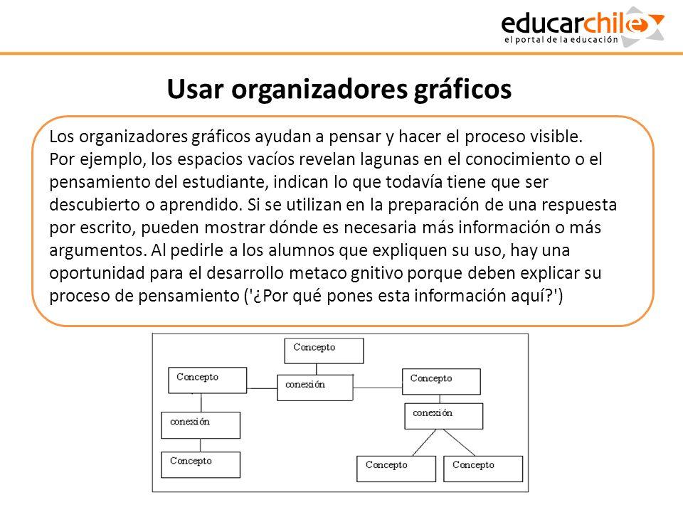 Usar organizadores gráficos Los organizadores gráficos ayudan a pensar y hacer el proceso visible. Por ejemplo, los espacios vacíos revelan lagunas en