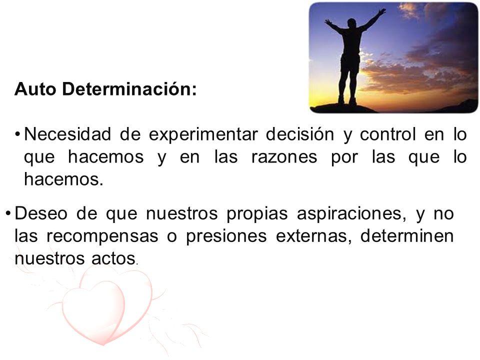 Auto Determinación: Necesidad de experimentar decisión y control en lo que hacemos y en las razones por las que lo hacemos. Deseo de que nuestros prop
