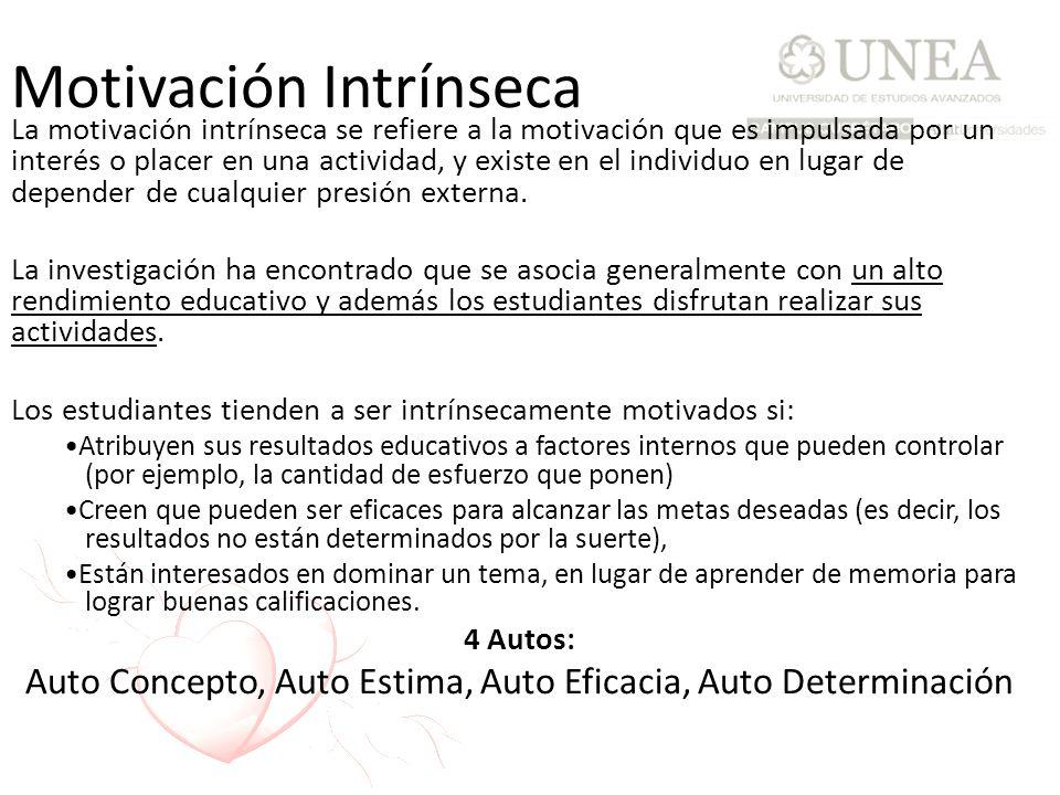 Motivación Intrínseca La motivación intrínseca se refiere a la motivación que es impulsada por un interés o placer en una actividad, y existe en el in