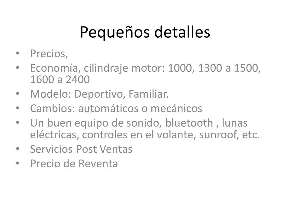 Pequeños detalles Precios, Economía, cilindraje motor: 1000, 1300 a 1500, 1600 a 2400 Modelo: Deportivo, Familiar. Cambios: automáticos o mecánicos Un