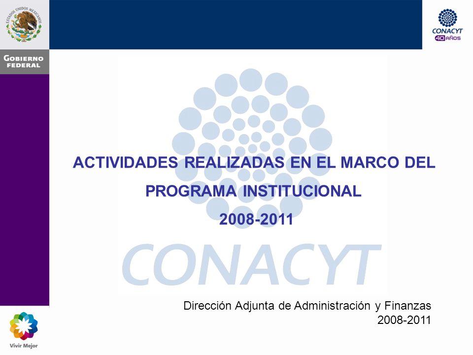 ACTIVIDADES REALIZADAS EN EL MARCO DEL PROGRAMA INSTITUCIONAL 2008-2011 Dirección Adjunta de Administración y Finanzas 2008-2011