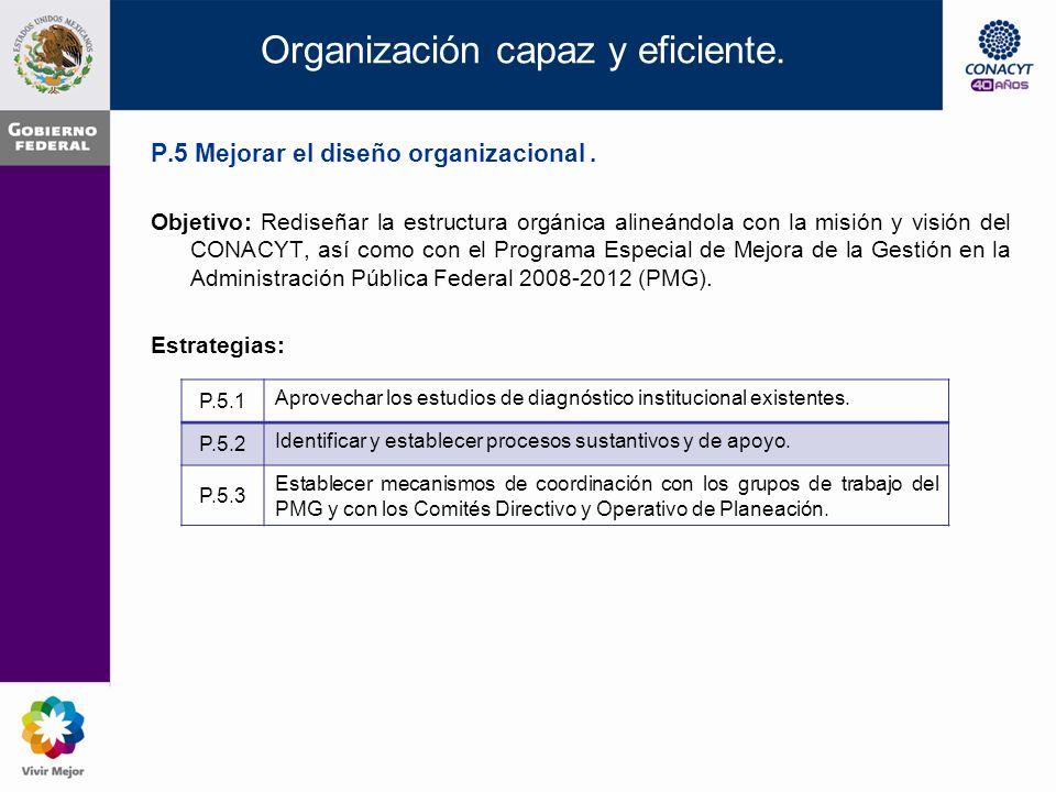 Organización capaz y eficiente. P.4 Potenciar el impacto de los Programas del CONACYT.
