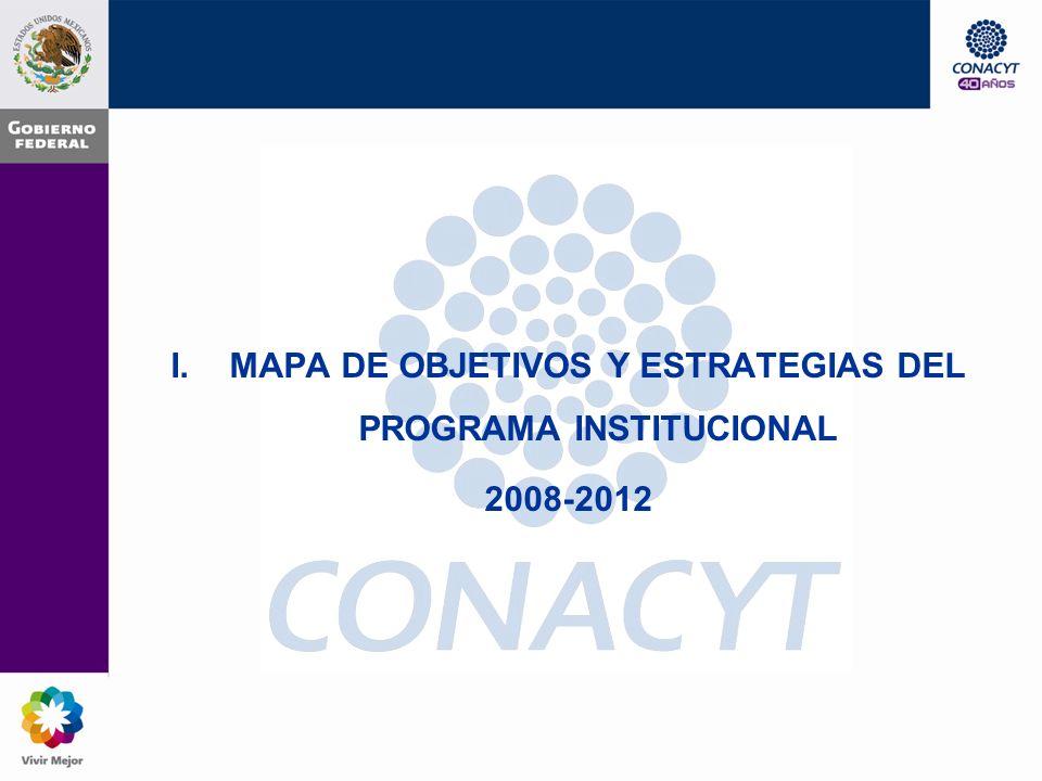 CONTENIDO I.MAPA DE OBJETIVOS Y ESTRATEGIAS DEL PROGRAMA INSTITUCIONAL 2008-2012 II.ACTIVIDADES Y RESULTADOS Organización capaz y eficiente P.2 Establecer sistemas de información, seguimiento y evaluación de resultados P.3 Diseñar procesos continuos de prospectiva y planeación P.4 Potenciar el impacto de los Programas del CONACYT P.5 Mejorar el diseño organizacional Recursos humanos competentes y comprometidos con los fines institucionales R.1 Fortalecer el capital humano del CONACYT III.DOCUMENTOS GENERADOS