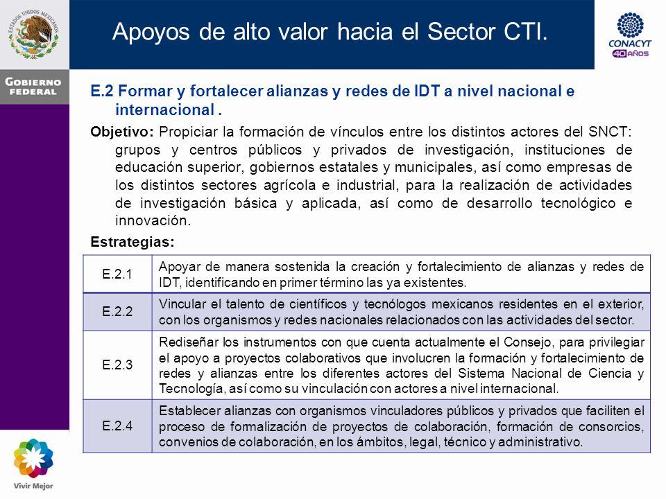 E.1 Promover la formación y consolidación de capital humano para el desarrollo de la CTI.