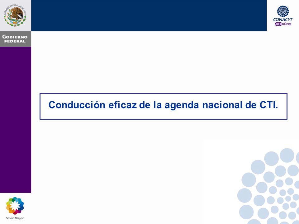 Conducción eficaz de la agenda nacional de CTI.