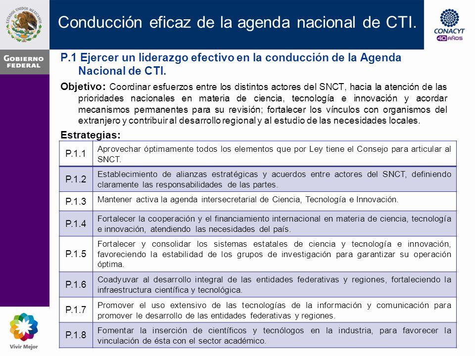 P.1 Ejercer un liderazgo efectivo en la conducción de la Agenda Nacional de CTI.