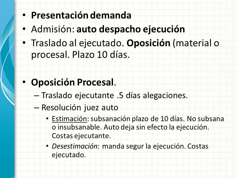 Presentación demanda Admisión: auto despacho ejecución Traslado al ejecutado. Oposición (material o procesal. Plazo 10 días. Oposición Procesal. – Tra