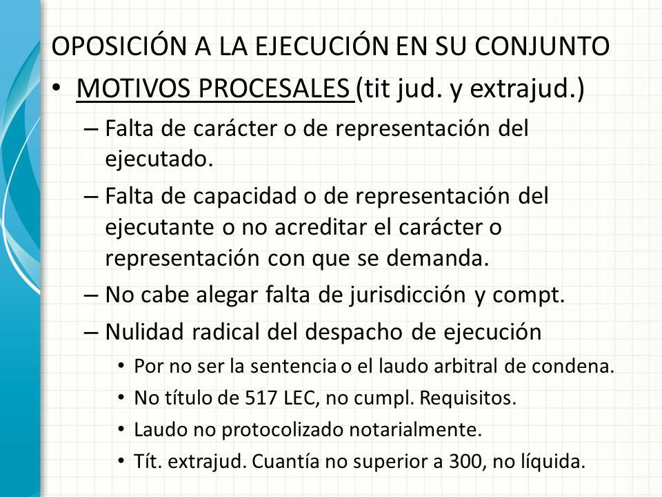 OPOSICIÓN A LA EJECUCIÓN EN SU CONJUNTO MOTIVOS PROCESALES (tit jud. y extrajud.) – Falta de carácter o de representación del ejecutado. – Falta de ca