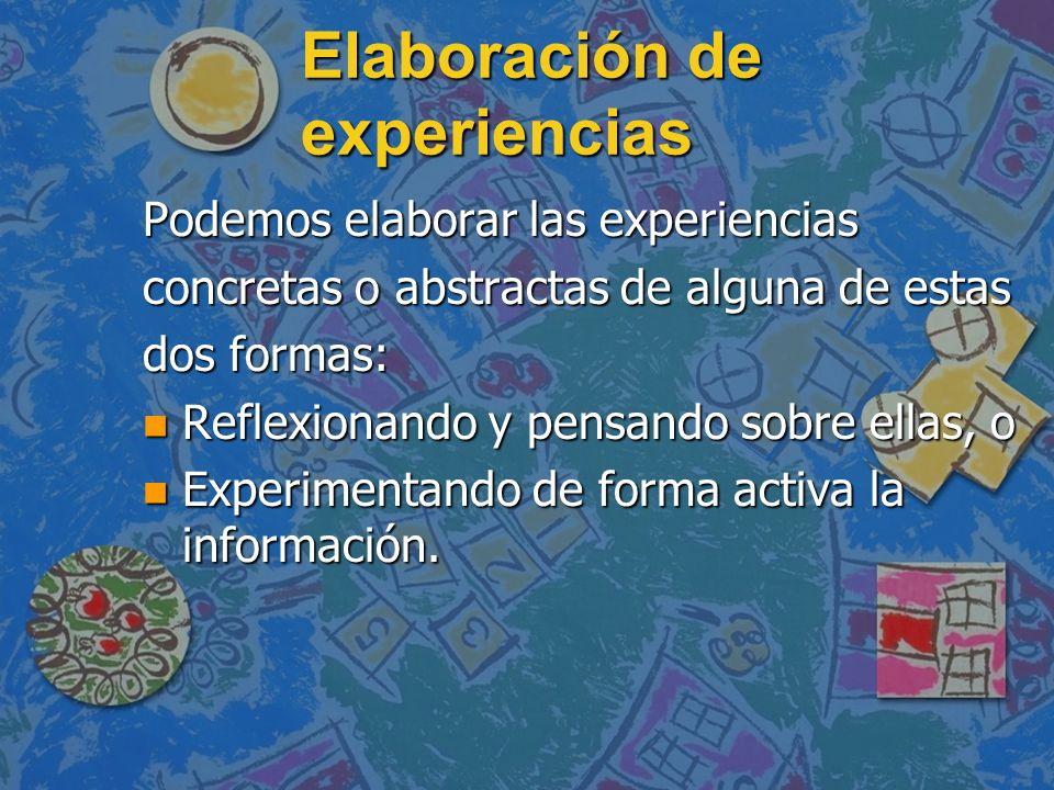 Elaboración de experiencias Podemos elaborar las experiencias concretas o abstractas de alguna de estas dos formas: n Reflexionando y pensando sobre e