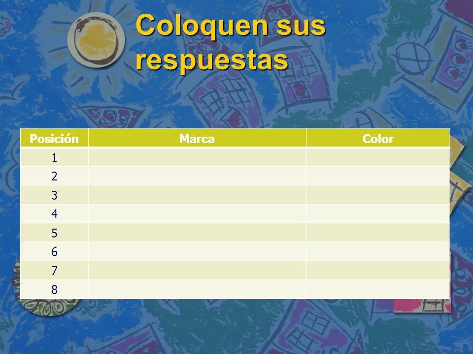 Coloquen sus respuestas PosiciónMarcaColor 1 2 3 4 5 6 7 8