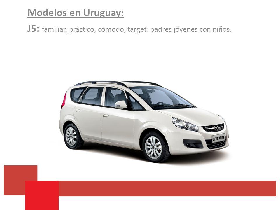 Modelos en Uruguay: J5: familiar, práctico, cómodo, target: padres jóvenes con niños.