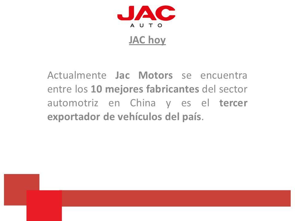 JAC hoy Actualmente Jac Motors se encuentra entre los 10 mejores fabricantes del sector automotriz en China y es el tercer exportador de vehículos del