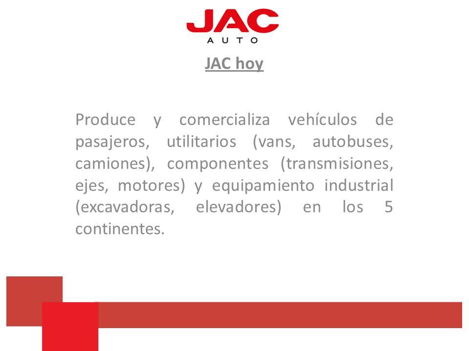 JAC hoy Produce y comercializa vehículos de pasajeros, utilitarios (vans, autobuses, camiones), componentes (transmisiones, ejes, motores) y equipamie