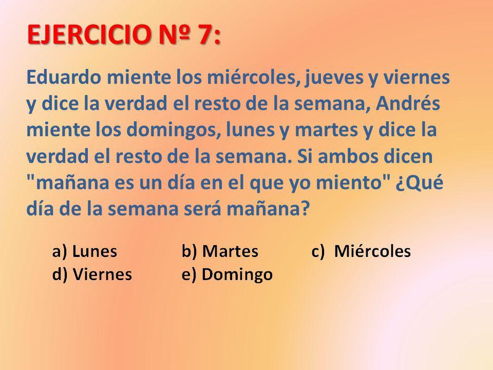 EJERCICIO Nº 7: Eduardo miente los miércoles, jueves y viernes y dice la verdad el resto de la semana, Andrés miente los domingos, lunes y martes y di