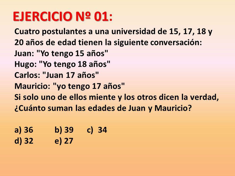 EJERCICIO Nº 01 EJERCICIO Nº 01: Cuatro postulantes a una universidad de 15, 17, 18 y 20 años de edad tienen la siguiente conversación: Juan: