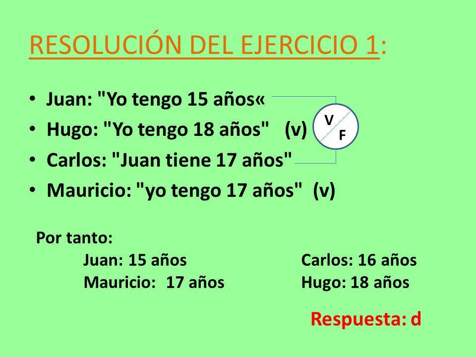 RESOLUCIÓN DEL EJERCICIO 1: V F Por tanto: Juan: 15 años Carlos: 16 años Mauricio: 17 años Hugo: 18 años Respuesta: d Juan: