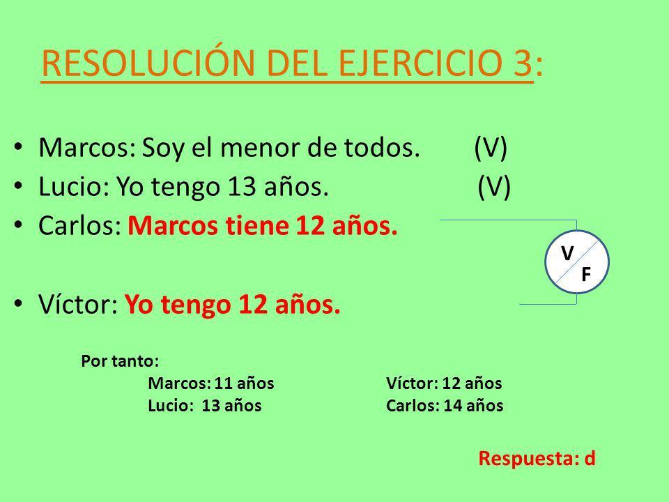 RESOLUCIÓN DEL EJERCICIO 3: Marcos: Soy el menor de todos. (V) Lucio: Yo tengo 13 años. (V) Carlos: Marcos tiene 12 años. Víctor: Yo tengo 12 años. V
