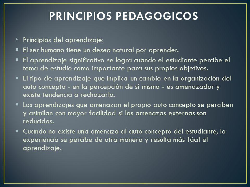 Principios del aprendizaje: El ser humano tiene un deseo natural por aprender. El aprendizaje significativo se logra cuando el estudiante percibe el t