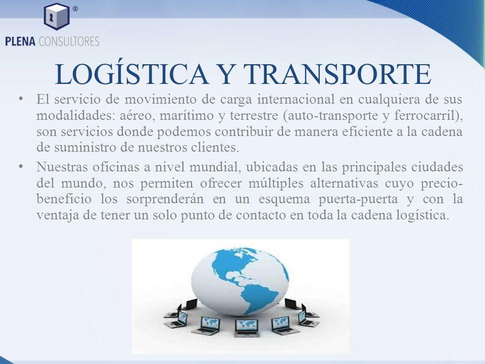 LOGÍSTICA Y TRANSPORTE El servicio de movimiento de carga internacional en cualquiera de sus modalidades: aéreo, marítimo y terrestre (auto-transporte