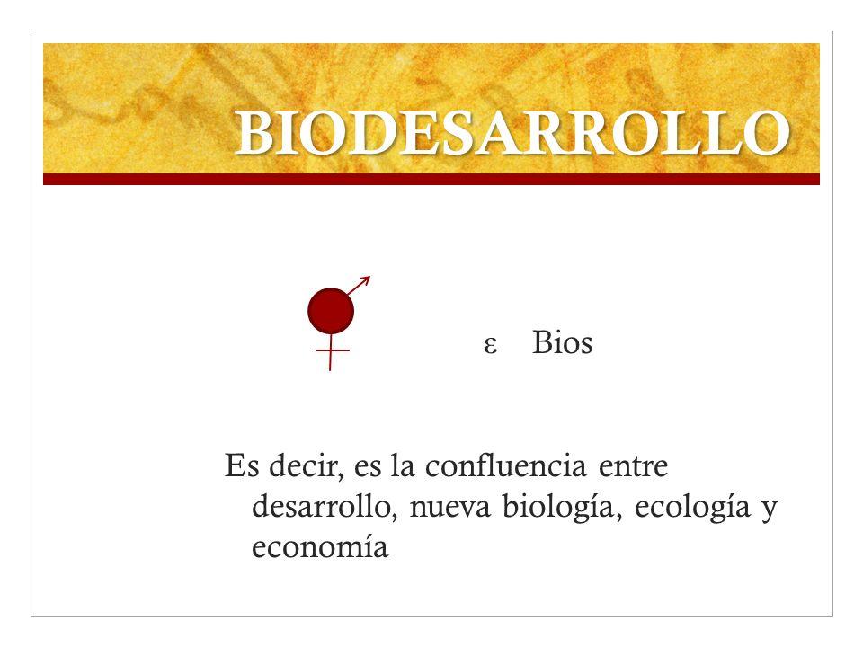 BIODESARROLLO ε Bios Es decir, es la confluencia entre desarrollo, nueva biología, ecología y economía
