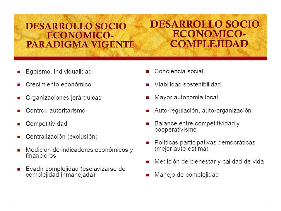 DESARROLLO SOCIO ECONOMICO- PARADIGMA VIGENTE Egoísmo, individualidad Crecimiento económico Organizaciones jerárquicas Control, autoritarismo Competit