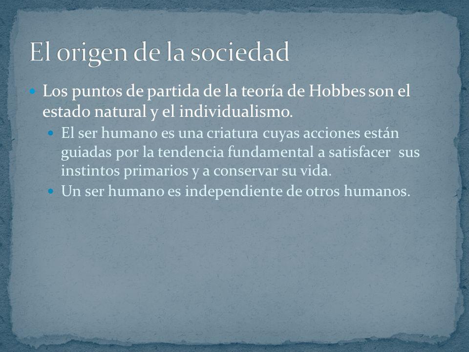 Los puntos de partida de la teoría de Hobbes son el estado natural y el individualismo.