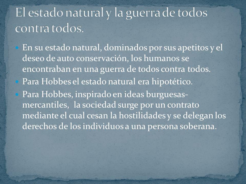 Los puntos de partida de la teoría de Hobbes son el estado natural y el individualismo. El ser humano es una criatura cuyas acciones están guiadas por