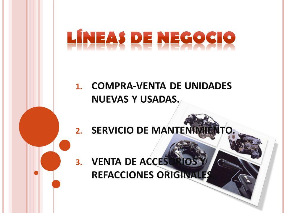 1. COMPRA-VENTA DE UNIDADES NUEVAS Y USADAS. 2. SERVICIO DE MANTENIMIENTO. 3. VENTA DE ACCESORIOS Y REFACCIONES ORIGINALES.