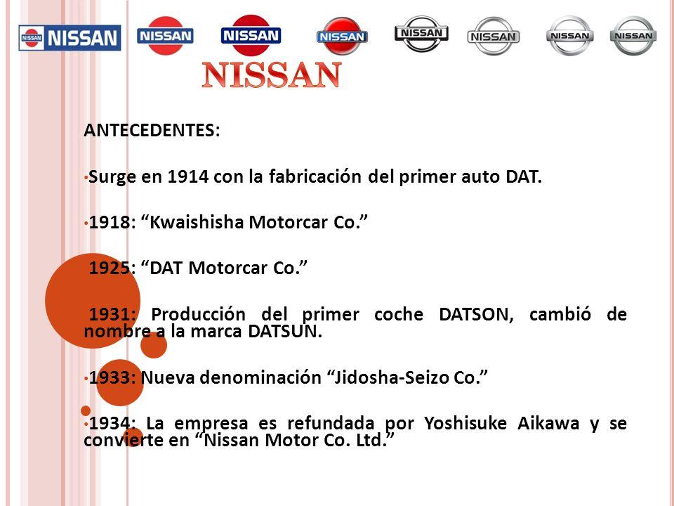ANTECEDENTES: Surge en 1914 con la fabricación del primer auto DAT. 1918: Kwaishisha Motorcar Co. 1925: DAT Motorcar Co. 1931: Producción del primer c