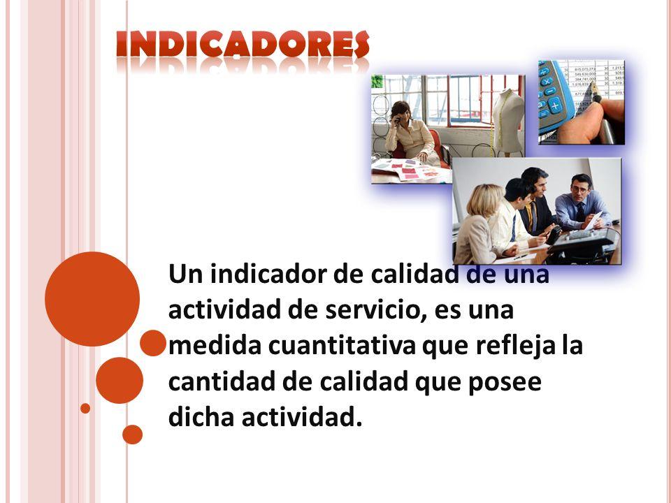 Un indicador de calidad de una actividad de servicio, es una medida cuantitativa que refleja la cantidad de calidad que posee dicha actividad.