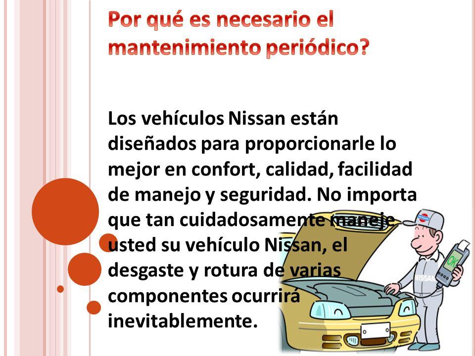 Los vehículos Nissan están diseñados para proporcionarle lo mejor en confort, calidad, facilidad de manejo y seguridad. No importa que tan cuidadosame