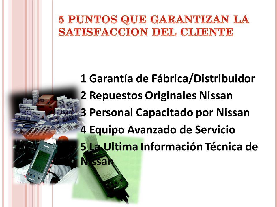 1 Garantía de Fábrica/Distribuidor 2 Repuestos Originales Nissan 3 Personal Capacitado por Nissan 4 Equipo Avanzado de Servicio 5 La Ultima Informació
