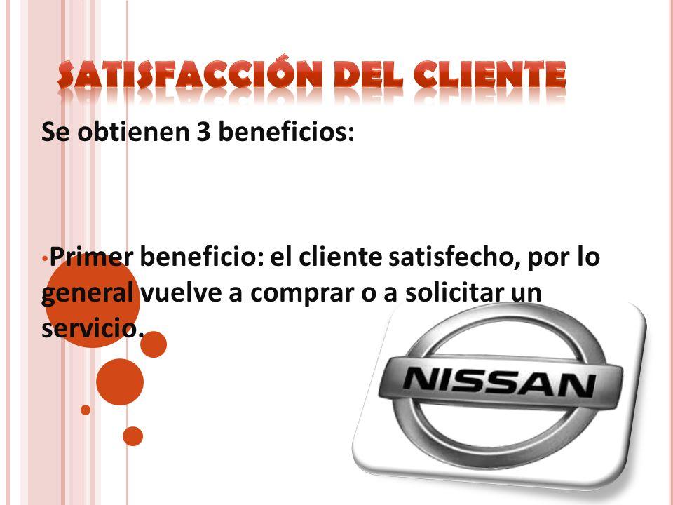 Se obtienen 3 beneficios: Primer beneficio: el cliente satisfecho, por lo general vuelve a comprar o a solicitar un servicio.