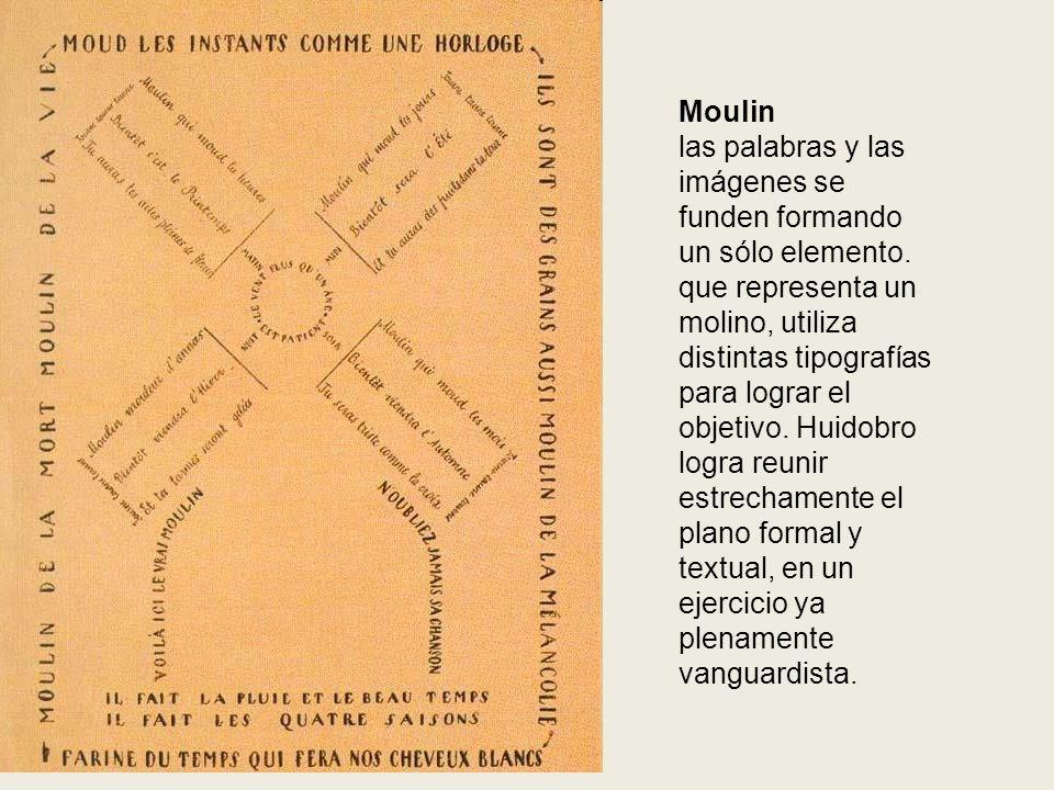 Moulin las palabras y las imágenes se funden formando un sólo elemento. que representa un molino, utiliza distintas tipografías para lograr el objetiv